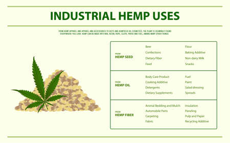 Industrial Hemp Uses horizontal infographic illustration about cannabis as herbal alternative medicine and chemical therapy, healthcare and medical science vector.