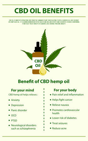 CBD Oil Benefits vertical infographic illustration about cannabis as herbal alternative medicine and chemical therapy, healthcare and medical science vector.