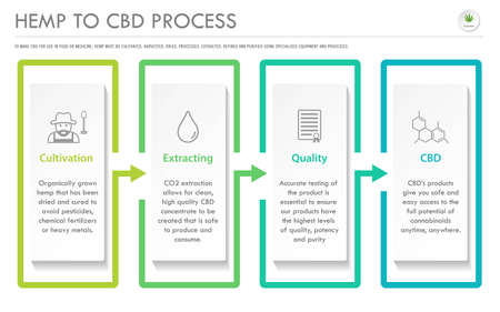 Hemp to CBD Process horizontal business infographic illustration about cannabis as herbal alternative medicine and chemical therapy, healthcare and medical science vector. 写真素材 - 129818679