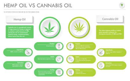 Hanföl vs Cannabisöl horizontale Business-Infografik über Cannabis als pflanzliche Alternativmedizin und chemische Therapie, Gesundheitswesen und medizinischer Wissenschaftsvektor.