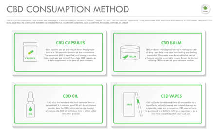 CBD Consumption Method horizontal business infographic illustration about cannabis as herbal alternative medicine and chemical therapy, healthcare and medical science vector.  イラスト・ベクター素材