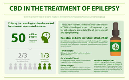 CBD in the Treament of Epilepsy horizontal infographic illustration about cannabis as herbal alternative medicine and chemical therapy, healthcare and medical science vector. Illustration