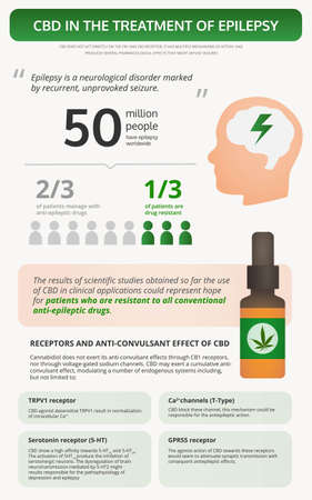 Cannabis in the Treatment of Epilepsy vertical textbook infographic illustration about cannabis as herbal alternative medicine and chemical therapy, healthcare and medical science vector.