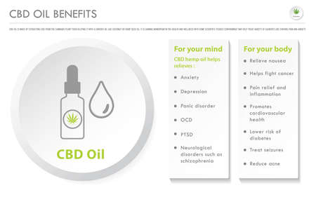 CBD Oil Benefits horizontal business infographic illustration about cannabis as herbal alternative medicine and chemical therapy, healthcare and medical science vector. Illustration