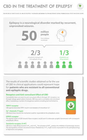 CBD in the Treatment of Epilepsy vertical business infographic illustration about cannabis as herbal alternative medicine and chemical therapy, healthcare and medical science vector.