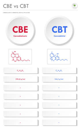 CBE vs CBT, Cannabielsoin vs Cannabitriol vertical business infographic illustration about cannabis as herbal alternative medicine and chemical therapy, healthcare and medical science vector.
