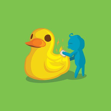yeloow: Yeloow ducky- vector Illustration