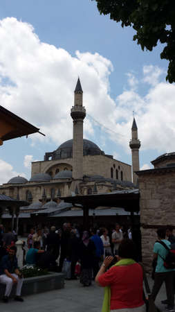 konya: Tourists visiting Convent Mevlana Museum in Konya, Turkey