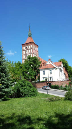 olsztyn: The road leading to the Cathedral of St. James in Olsztyn, Poland Stock Photo