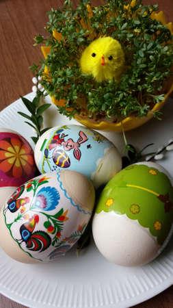 berros: Huevos de Pascua y berros Foto de archivo