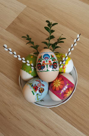 boxwood: Easter eggs with boxwood and catkins Stock Photo