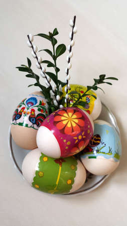 catkins: Easter eggs with boxwood and catkins Stock Photo