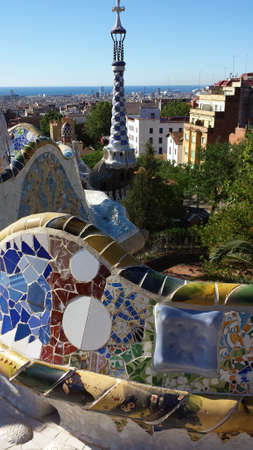 longest: The longest bench with mosaics in the Park Guell in Barcelona, ??Spain