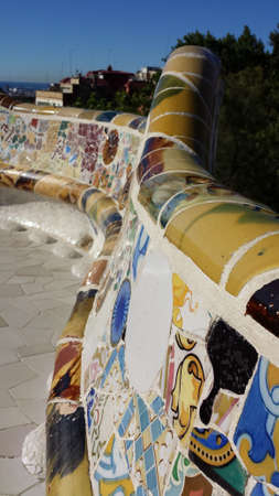 longest: The longest bench with mosaics in the Park Guell in Barcelona, ????Spain