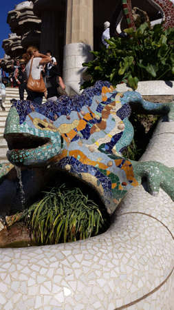 Colored lizard with mosaics in the Park Guell in Barcelona, ????Spain