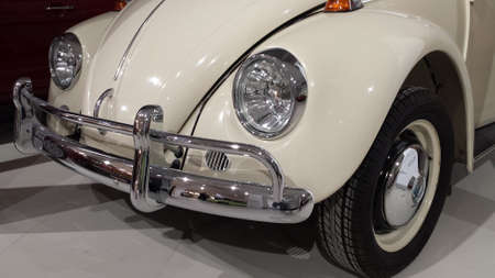 front bumper: Gdansk, Poland - November 12, 2016: The front bumper and the lights of the famous German Volkswagen Beetle 1967