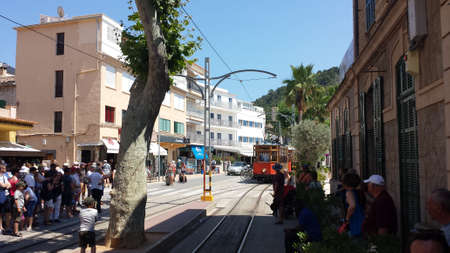 Port de Soller, Mallorca, Spain - June 21, 2018: Historic wooden tram in Port de S Redakční