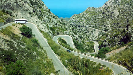 Sa Calobra Road, one of the most famous and spectacular roads in the world, famous for its snake-like shape. Majorca (Mallorca), Spain. Zdjęcie Seryjne
