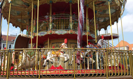 Gdansk, Poland: August 4, 2018: A two-level original Gdansk Carousel. Redakční