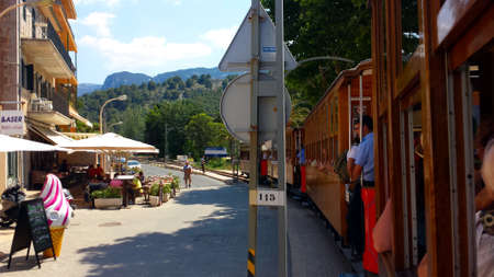 Soller, Mallorca: June 21, 2018: Travel through the historic wooden tram from Port de Soller to Soller