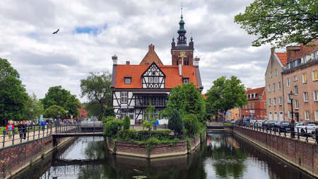 Gdansk, Poland - May 25, 2019: Millers House (Dom Mlynarza) in Gdansk old town, Poland.