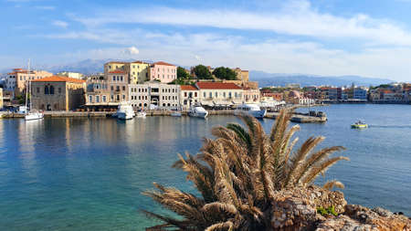 The Old Venetian Harbor of Chania, Crete, Greece.