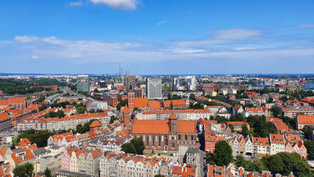 Top view of Gdansk from the tower of St. Marys Basilica, Poland