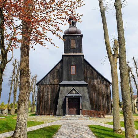 Wooden church in the Polish Kashubian village Banque d'images
