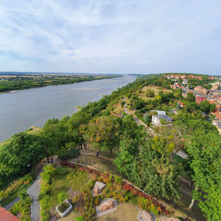Vistula River flowing through the city of Grudziadz, Poland. Vistula River, largest river of Poland and of the drainage basin of the Baltic Sea.