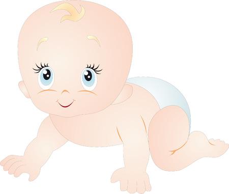 baby crawling: Vector de beb�
