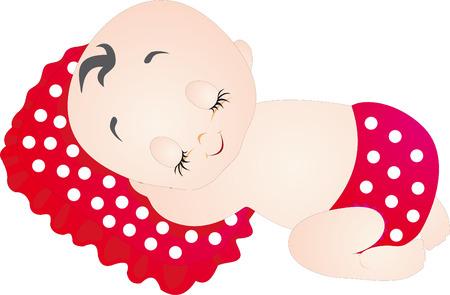 enfant qui dort: Vecteur de b�b�