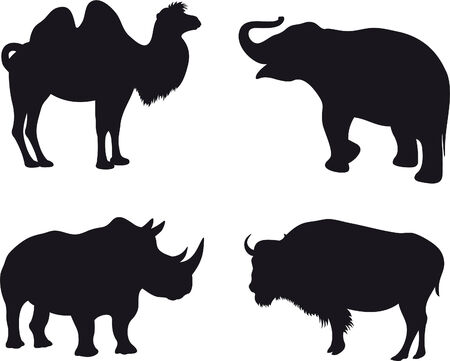 silhouettes elephants: Animales  Vectores