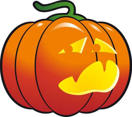 white bacground: A cheerfull halloween pumpkin isolated on white bacground