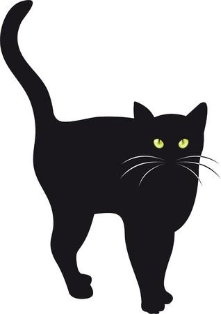 silueta gato negro: Ilustración de un gato negro con ojos verdes. Ideal para el transporte de cualquier Halloween o bruja relacionados con el concepto.