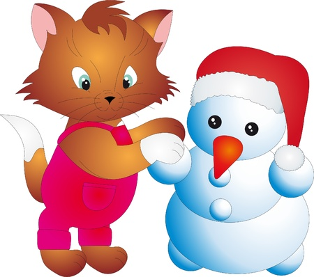 Cat and snowman vector Vector