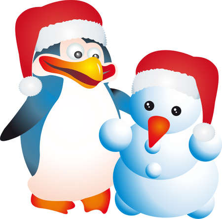 Penguin and snowman vector  Vector