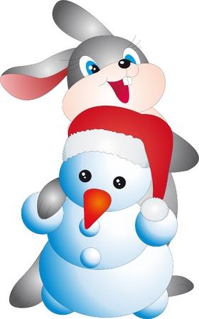 Rabbit and snowman vector Vector