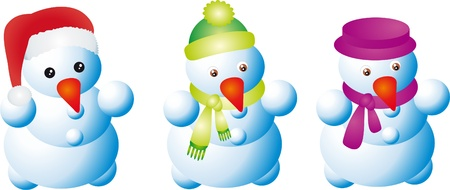 Collection of Traditional Snowman Vector