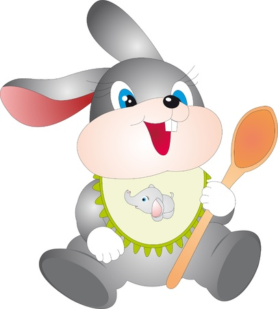 Rabbit with spoon Stock Vector - 8292571