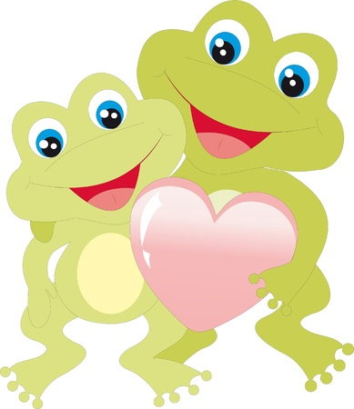 Frogs with heart Vector