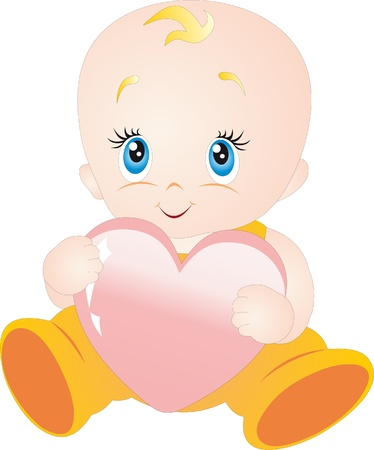 little blonde girl: Baby with heart