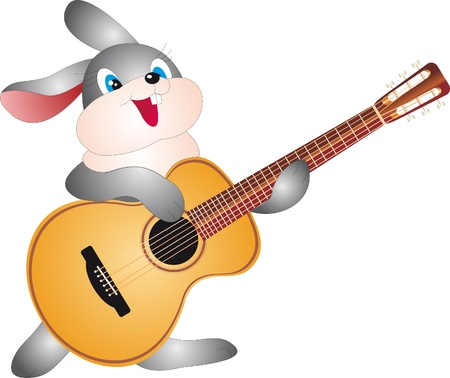 conejo caricatura: Conejo con guitarra Vectores