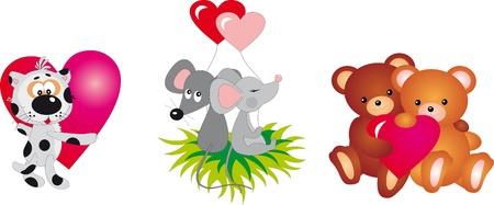 kodiak: Animales del d�a de San Valent�n Vectores