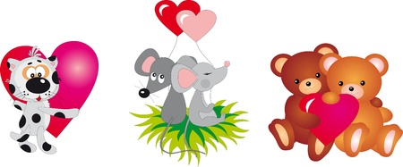 Valentine`s day animals Stock Vector - 8711290