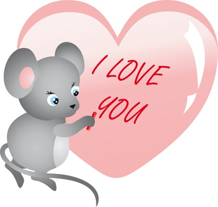 Mouse writing on heart Vector