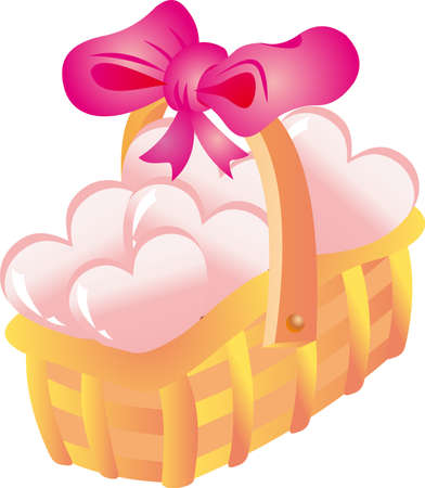 Basket with hearts Vector