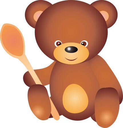 Teddy Bear with spoon vector Vector
