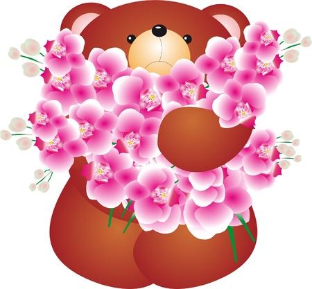 osos de peluche: Oso de peluche con vector flor Vectores