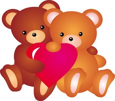 oso caricatura: Oso de peluche con coraz�n de vectores