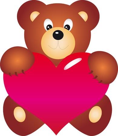 angel alone: Teddy Bear with Heart vector